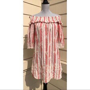 Misa Los Angeles Embroidered Off Shoulder Dress